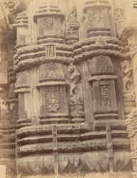 Close view of eastern portion of the northern façade of the sanctuary of the Rajalinga Temple, Bhubaneshwar